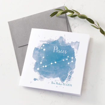 Personalised Pisces Star Sign Card