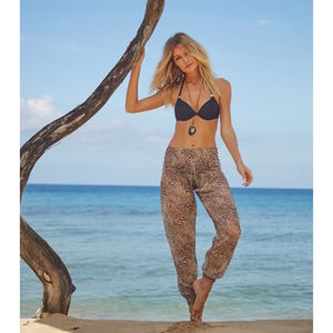Black Lamu Print Sheer Harem Trousers