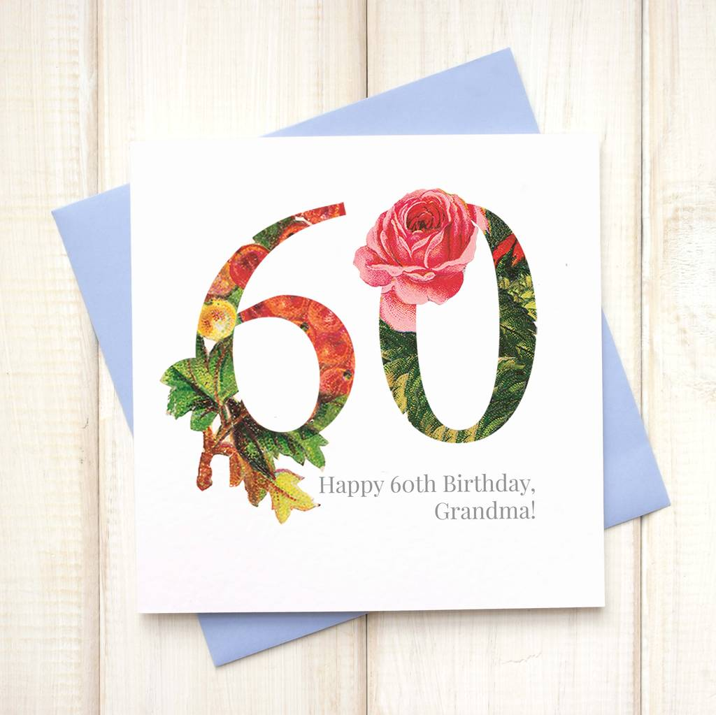 Personalised Floral 60th Birthday Card