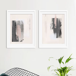 Pink And Grey Abstract Prints Set Of Two - modern & abstract