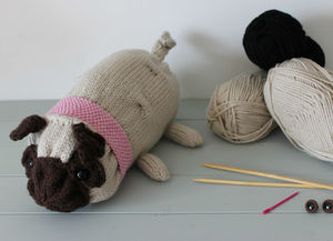Pug Dog Knitting Kit - creative kits & experiences