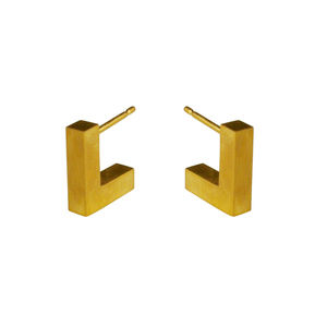 Structure Stud Earrings 18ct Gold Plated