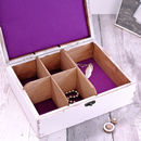 Purple Lining Inside White Wooden Jewellery Box Carved with Name