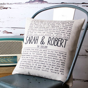 Personalised Song Lyrics Cushion Cover - bedroom