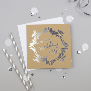 On Your Wedding Day Silver Foiled Card