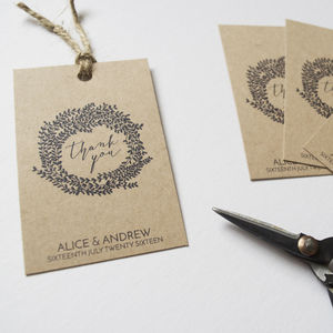 Personalised Wreath Wedding Favour Tags - table decorations