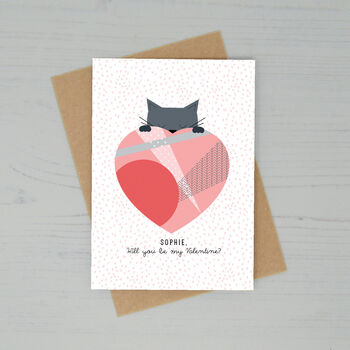 Personalised Love Heart Cat Valentines Day Card