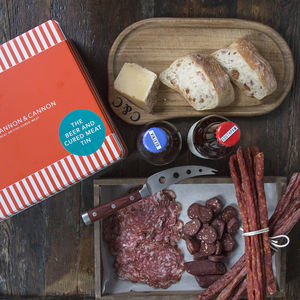 Beer And Cured Meat Charcuterie Gift Tin - gourmet snacks