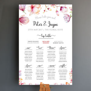 Personalised Floral Wedding Seating Plan - table plans