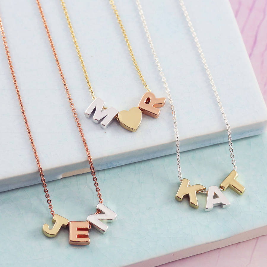 gold boodles collection necklace white love letter initial