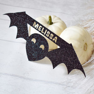 Halloween Bat Glitter Personalised Decoration