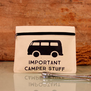 Personalised Zipped Pouch For Camper Van Lover - camping