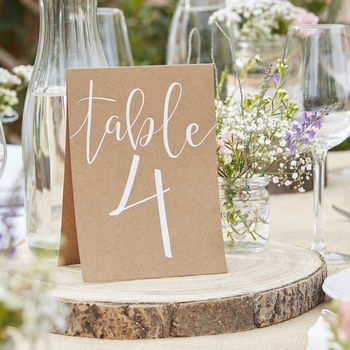Table Numbers Brown Card Calligraphy