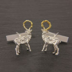 Sculpted Stag Cufflinks In Silver And Gold