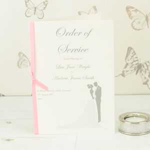 Bride And Groom Wedding Order Of Service A5 Booklet