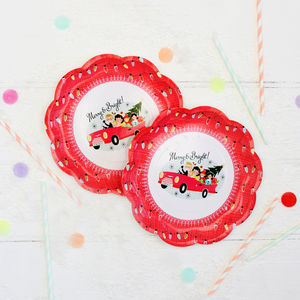 Christmas Family Retro Party Plates