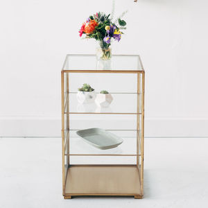 Brass Glass Cabinet, Display Unit, Side Table