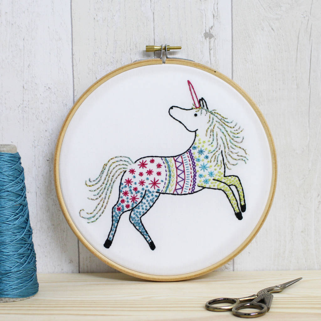 Unicorn contemporary embroidery craft kit by hawthorn
