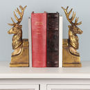 Grand Antique Gold Gentlemans Stag Bookends
