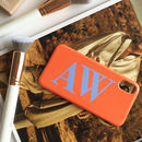Personalised Terracotta Orange And Blue Phone Case