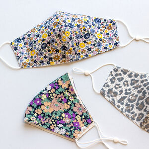 Three Reusable Washable Cotton Print Face Masks