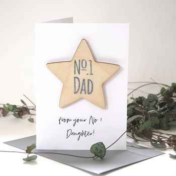 Number One Dad Wooden Star Card