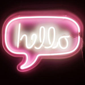 Neon Pink Typographic Hello Light - home accessories