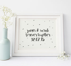 Personalised Together Forever Engagement Wedding Print