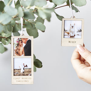Personalised Hanging Photo Decoration - christmas decorations