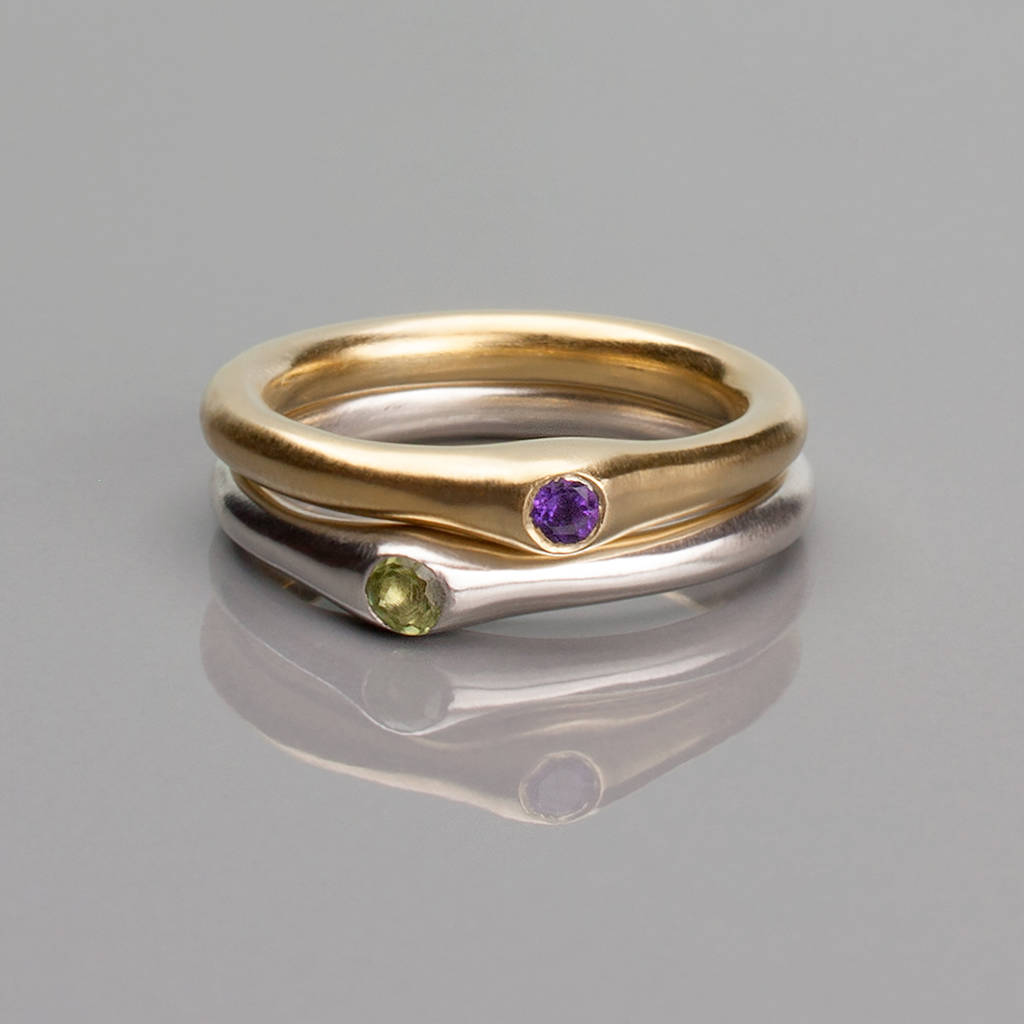 birthstone engraved with stackable rings