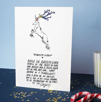 'The Rudolphicorn' Poem Greetings Card