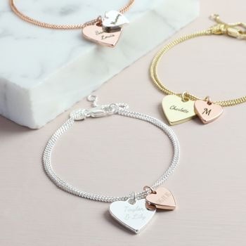 Personalised Double Wide Heart Charm Bracelet