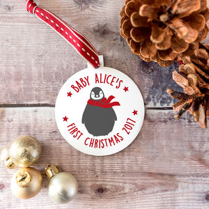 Baby's First Christmas Penguin Bauble - baby's first christmas