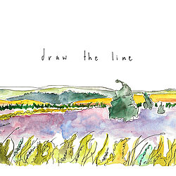 Watercolour illustration of the Yokshire Moors, logo for draw the line