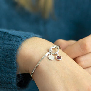 Friendship Knot Bangle - april birthstone