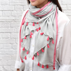 Personalised Contrast Tassel Scarf - gifts for her