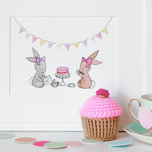 Tea For Two Nursery Print - children's pictures & paintings