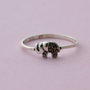 Sterling Silver Little Elephant Ring - rings