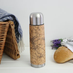 Personalised Leather Map Thermos Flask