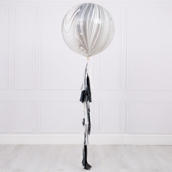 Monochrome Marble Tassel Tail Giant Balloon