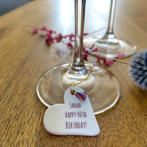 Personalised Milestone Birthday Glass Charm