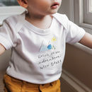 Personalised 'Going On An Adventure' Organic Babygrow
