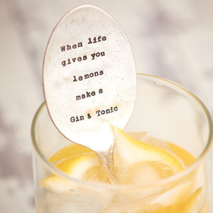 Vintage 'Gin And Tonic' Spoon Drink Stirrer