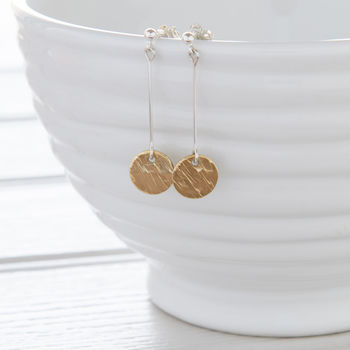 Gold Long Hammered Disc Earrings Brass