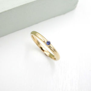 Skinny Gold And Blue Sapphire Ring - rings