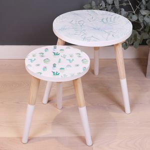 Botanical Wooden Side Table - side tables
