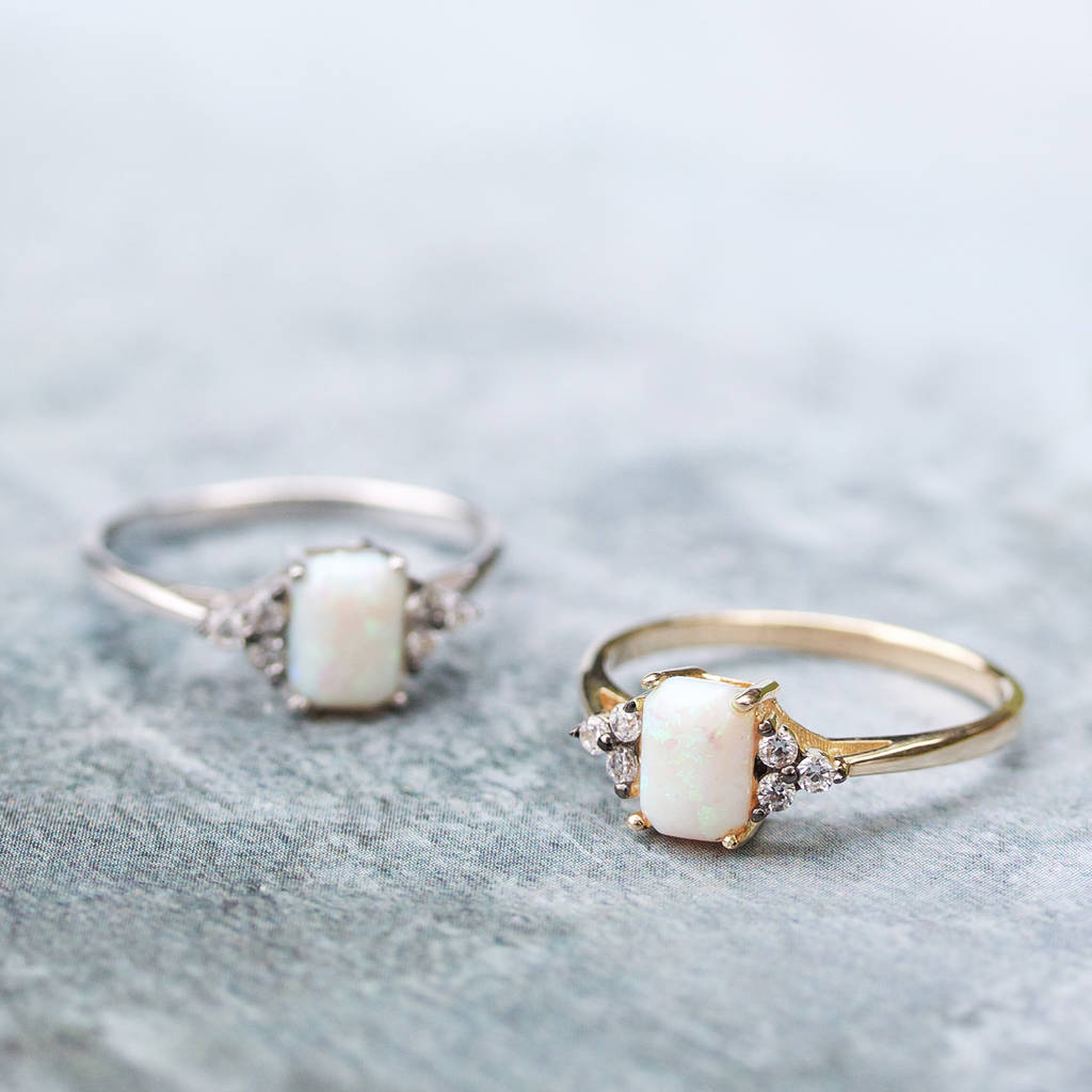 Opal Cluster Ring In Silver Or Gold by Regalrose