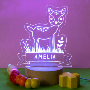 Personalised Baby Girls Deer Night Light - lighting