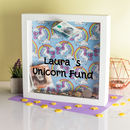Personalised Unicorn Print Money Box Frame