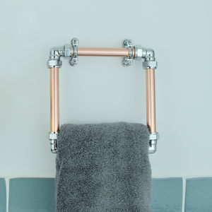 Industrial Copper And Chrome Towel Holder